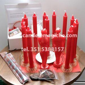 seti di candele rosse per rito d'amore gran cerimoniale