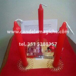 set di candele rosse per incantesimo della cipolla