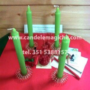 kit con candele verdi per rito degli sposi