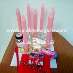 set di candele rosa e accessori per il rito in tranquilo
