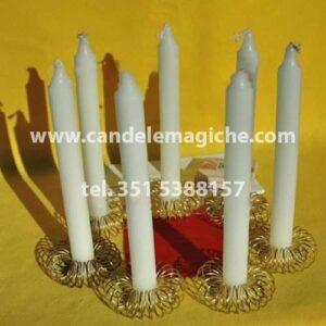 kit di candele bianche per il rito nigeriano della fortuna