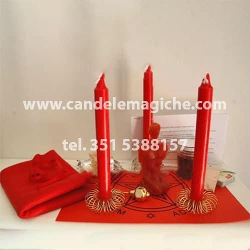 kit candele rosse per rituale del comando