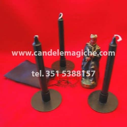 set 3 candele nere per rituale exu-rei di allontanamento negatività