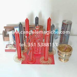 kit candele e accessori per il rituale exu sette caveiras