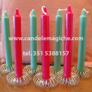 set candele rosse e verdi per legamento d'amore