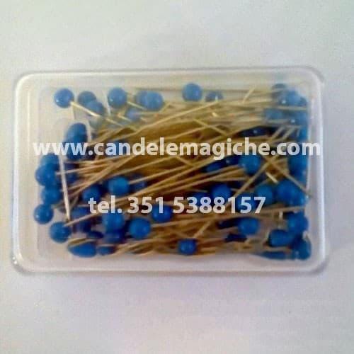 scatola di spilli con capocchia azzurra