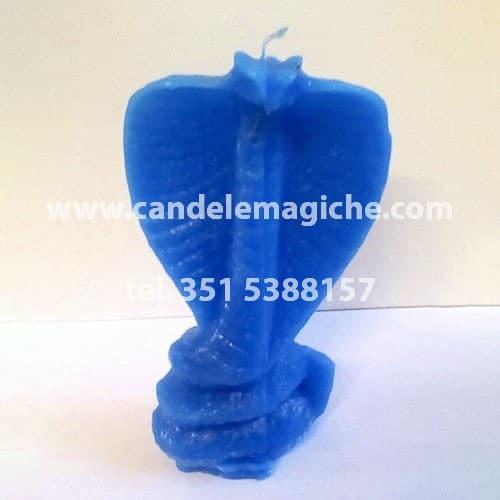 candela azzurra figurata a forma di cobra