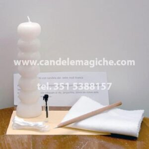 candela sai sette nodi bianca per rito di purificazione