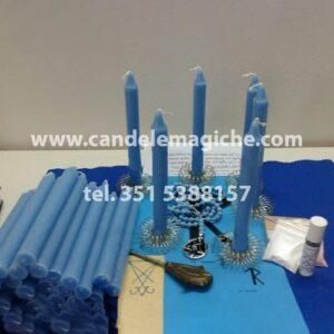set di candele celesti e altri oggetti per il rituale della corona luciferiana per vincere cause legali