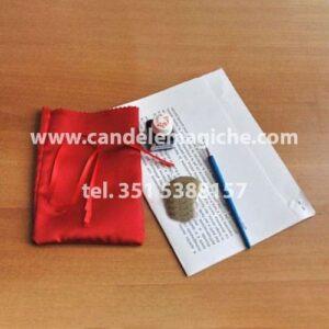 sacchetto rosso e procedura rituale per rito delle fate delle pietre per la protezione