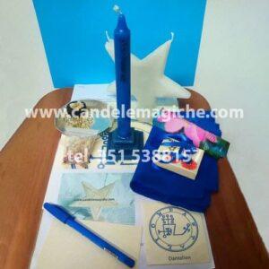 candela azzurra per il rito luciferiano di dantalian