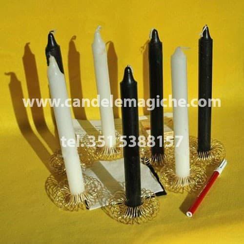 set di candele bianche e nere per rito nigeriano