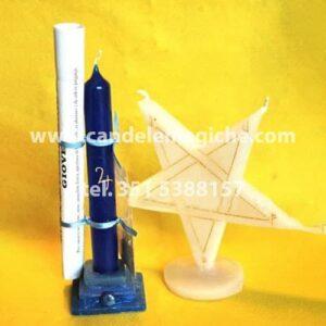 candela azzurra e candela a forma di stella per rito planetare di giove