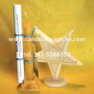candela cilindrica gialla e candela a forma di stella per rito planetare del sole