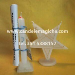 candela bianca e candela a forma di stella per rito planetario della luna