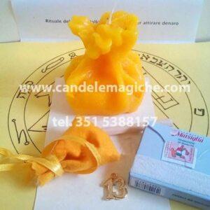 candela figurata a forma di sacco della fortuna