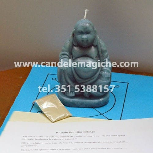 candela figurata del buddha di colore celeste per rituale