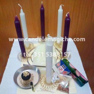 kit candele bianche e viola per rituale della candela del pensiero