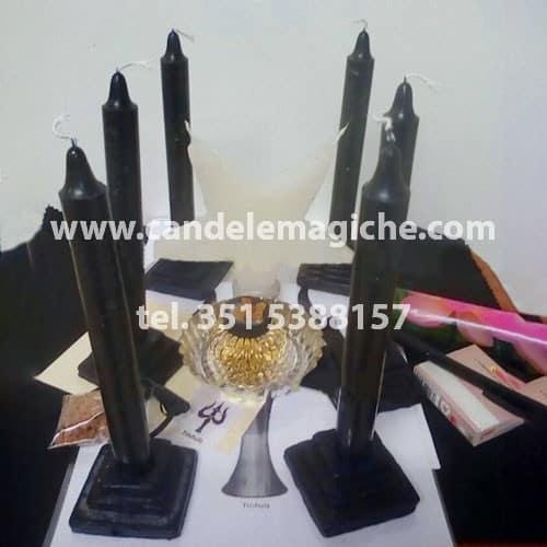 set di candele nere per il rituale luciferiano trishula