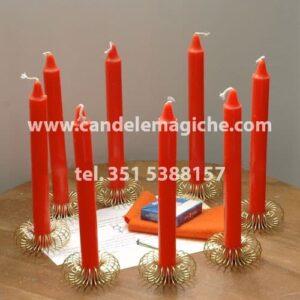 otto candele arancione per il rituale di mercurio