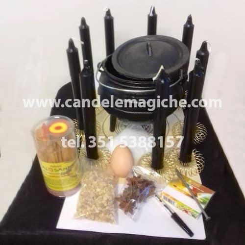 kit candele e accessori per effettuare il rituale di pulizia