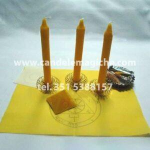 tre candele gialle per rituale salomonico del sole
