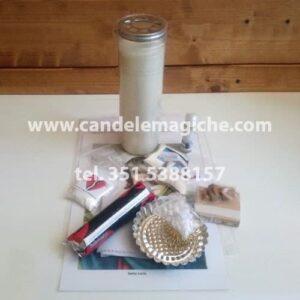 candela bianca e accessori per effettuare il rituale di santa lucia