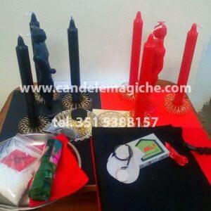 set candele nere e rosse per rituale per togliere una fattura