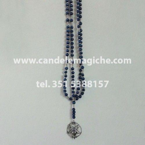 collana rosario con palline blu e ciondolo di baphomet