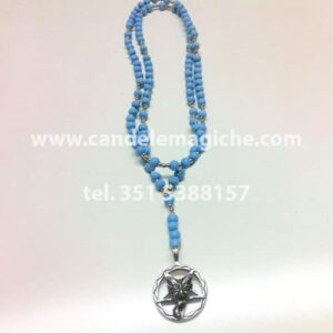 collana rosario con palline celesti e ciondolo di baphomet