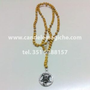 collana rosario con perle gialle e ciondolo di baphomet