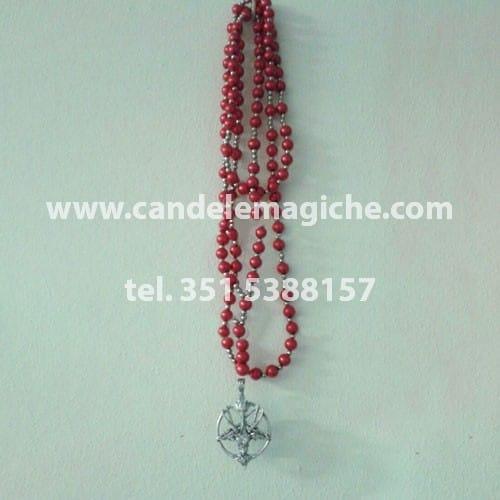 collana rosario con perle rosse e ciondolo di baphomet