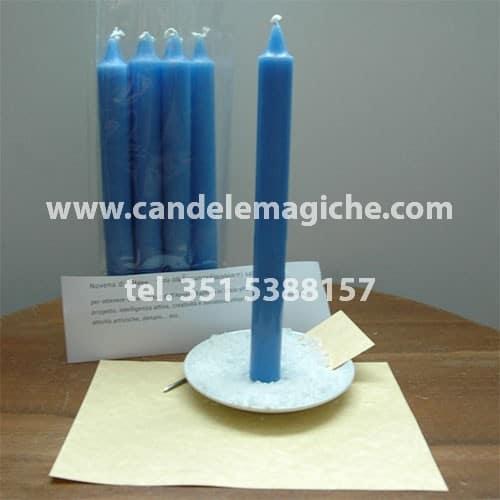 set di candele azzurre per recitare la novena di giove