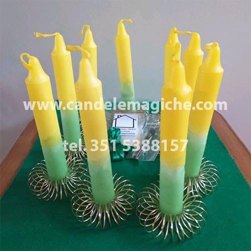 set di candele gialle e verdi per il rituale novena quattro venti