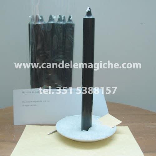 set di candele nere per recitare la novena di saturno