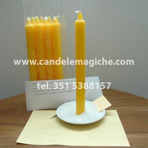 set di candele gialle per recitare la novena del sole