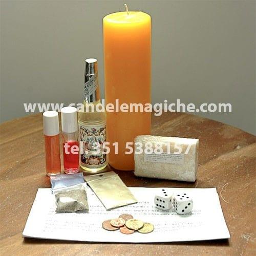 candela sette giorni gialla e altri accessori per l'orazione alla vergine xangò