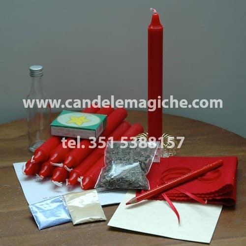 set di candele rosse e occorrente per svolgere il rito delle nove anime di lima