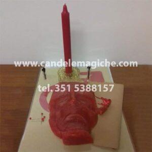 candela figurata del pensiero rossa per rito