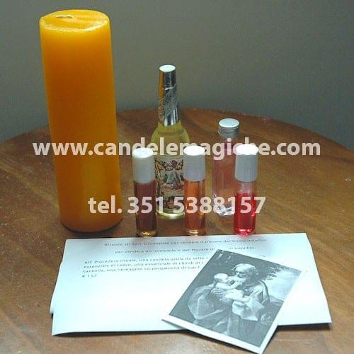 una candela sette dias e oli per svolgere il rito di san giuseppe