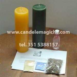 una candela gialla ed una verde per il rituale all'anima sola per vincere al gioco