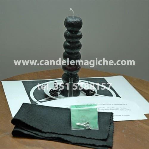 candela dai sette nodi nera per rituale