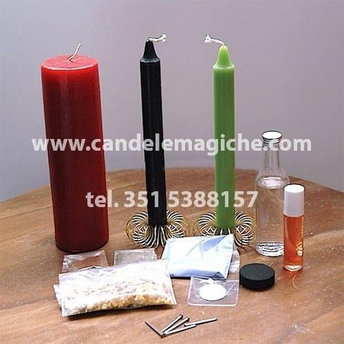 kit di candele e accessori per svolgere il rituale della pietraia