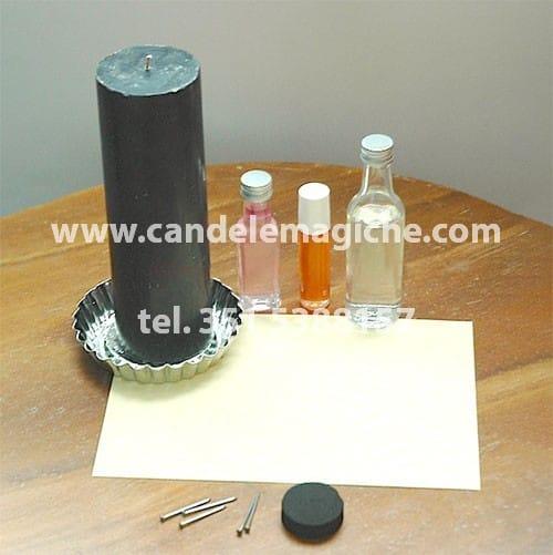 candela nera e oli per svolgere il rituale della pietraia