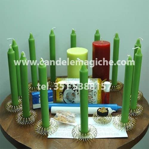 kit di candele per effettuare il rituale di santa marta