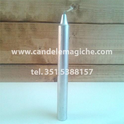 candela cilindrica color argernto