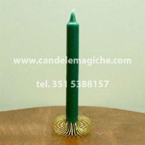 candela cilindrica di colore verde