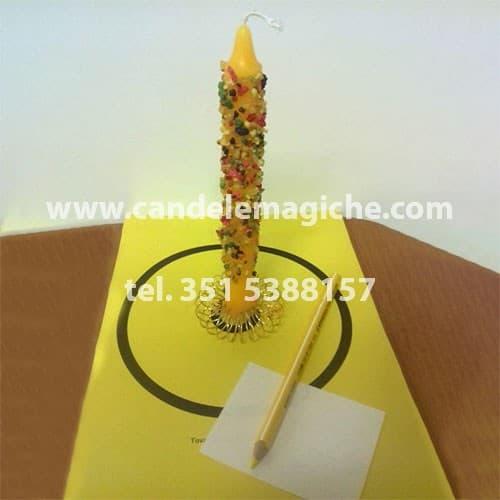 candela con incenso incastonato gialla