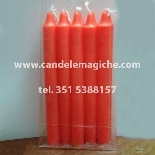 confezione da 10 pezzi di candele cilindriche arancioni