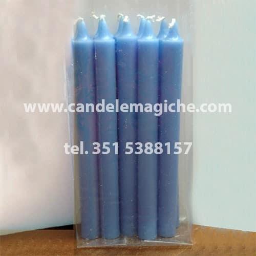 confezione da 10 pezzi di candele cilindriche azzurre